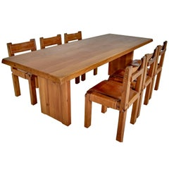 Pierre Chapo Solid Elm Set Table T14d and Six Chairs S11 France, circa 1965