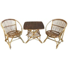 Mid-Century Rattan Table with Pair of Armchairs Set