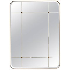 Bathroom Mirror for Sanders by Lind + Almond in Cut Glass and Brass, Large