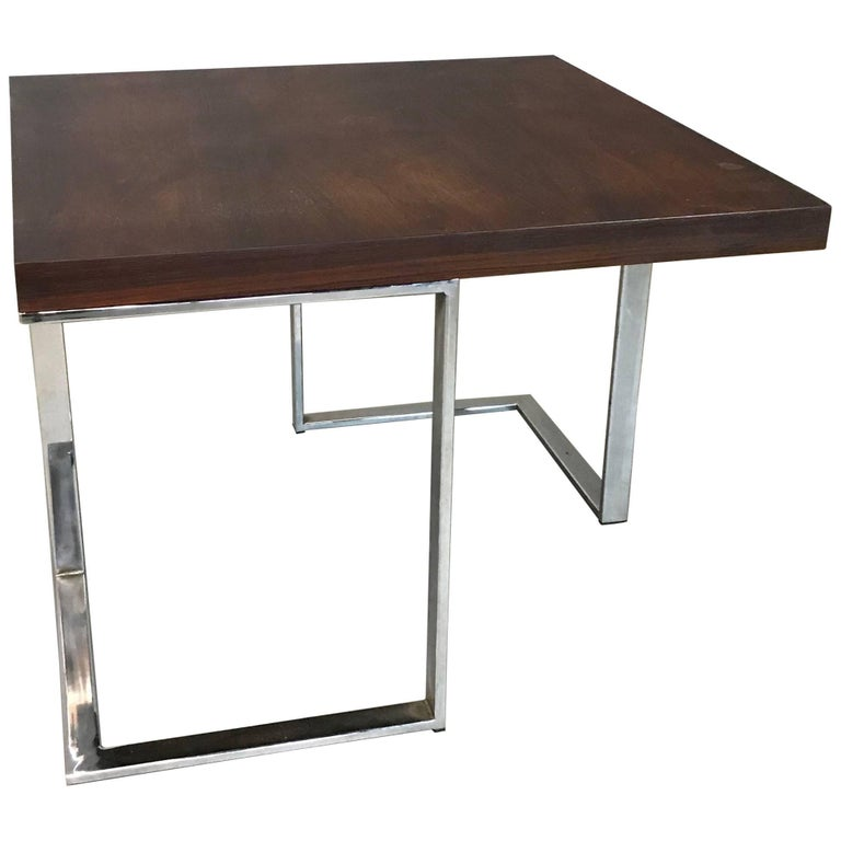 Modernist Rosewood and Chrome Coffee or Side Table
