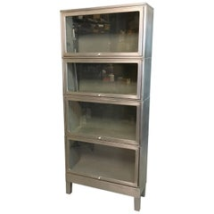 Industrial Midcentury Brushed Steel Barrister Bookcase