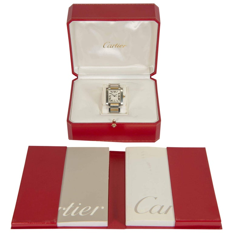 Cartier Tank Francaise, Two-Tone Men's Dress Watch with Guilloché Dial and Gold