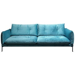 Santorini Handmade Contemporary Sofa, Tufted Cushions, Fabric Cover, Metal Legs