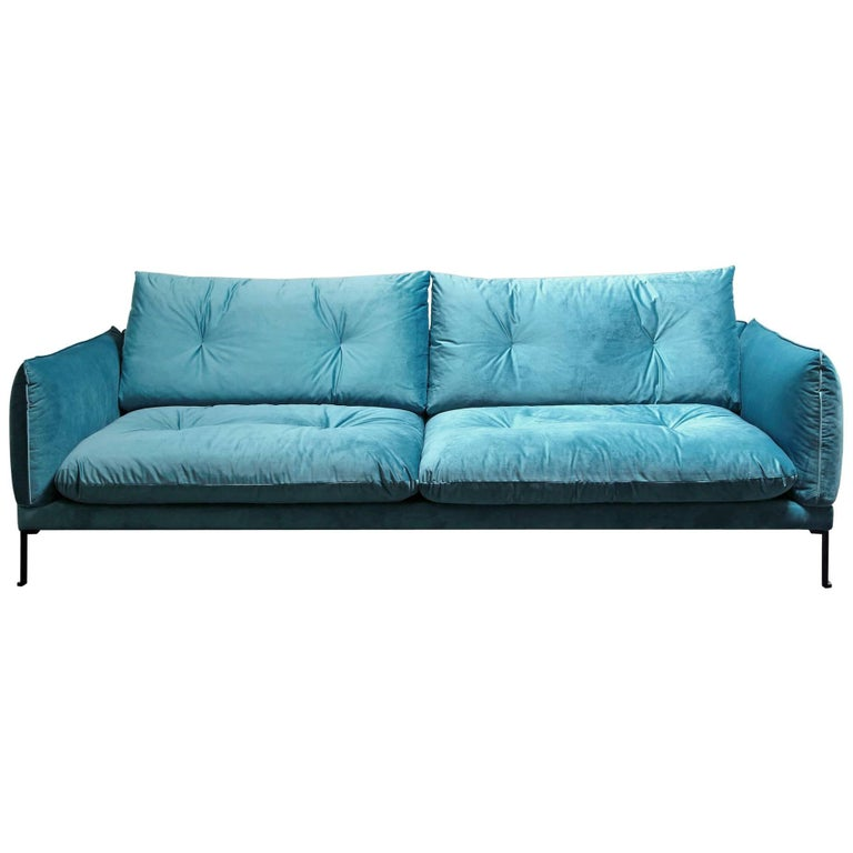 Santorini Handmade Contemporary Sofa Tufted Cushions Fabric Cover Metal Legs For