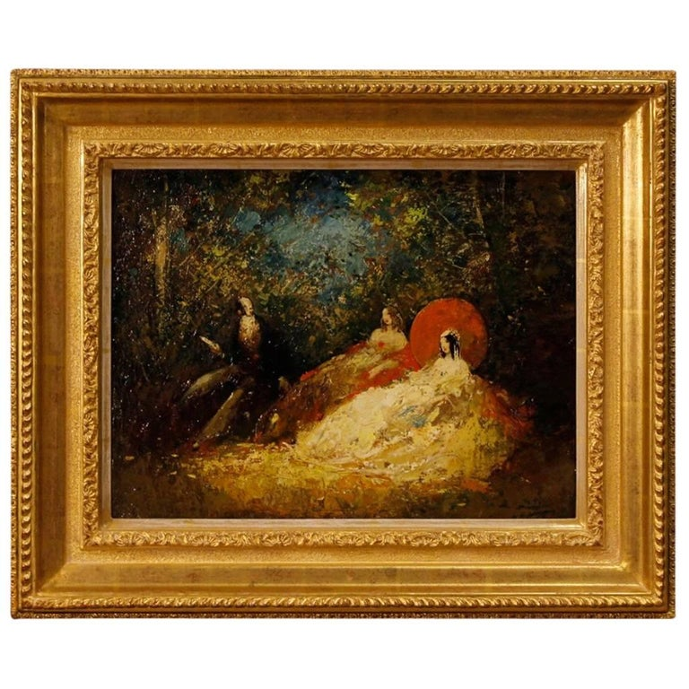 French Signed Painting Oil on Masonite Romantic Scene in Impressionist Style
