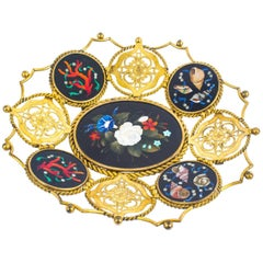 Antique Italian Pietra Dura Mounted Ormolu Basket 19th Century