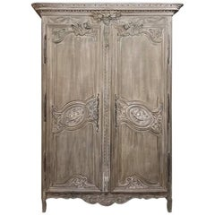 19th Century Country French Normandy Stripped Oak Wedding Armoire