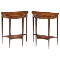 Pair of Late Victorian Demilune Mahogany Console Tables