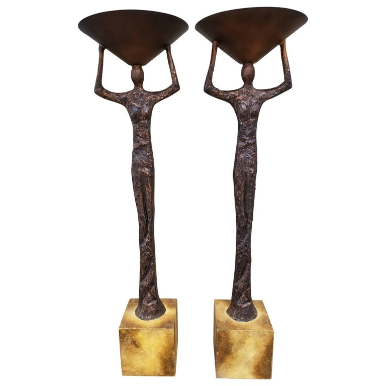 Brutalist Floor Lamps in the Manner of Alberto Giacometti For Sale