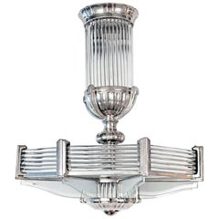 French Art Deco Modernist Chandelier by Atelier Petitot
