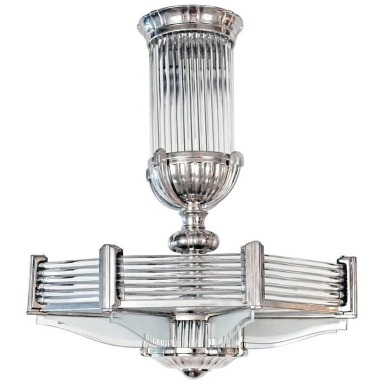 French Art Deco Modernist Chandelier by Atelier Petitot For Sale