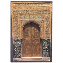 Painted and Carved Plaster Plaque of the Alhambra, Granada, Late 19th Century