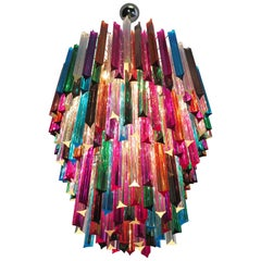 Huge Murano Chandelier Multicolor Triedri, 184 Prism, Mariangela Model
