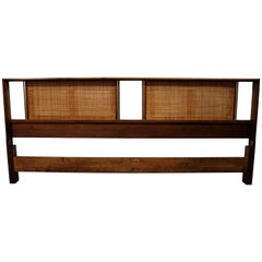 Midcentury Danish Modern John Stuart Caned Walnut King-Size Headboard