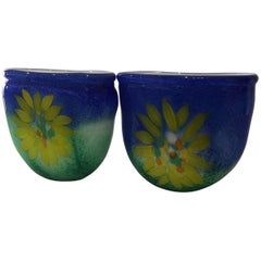 Pair of Murano Glass Floral Vases