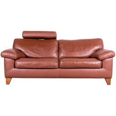 Machalke Designer Brown Leather Sofa Two-Seat Couch Neck Rest