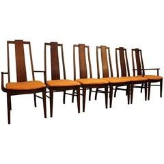 Set of Six Brasilia Style Orange Walnut Dining Chairs