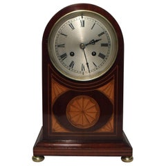 French Belle Epoque Mahogany and Satinwood Inlaid Mantel Clock