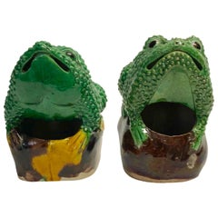 Pair of 19th Century Chinese Porcelain Famille Verte Egg/Spinach Glazed Frogs