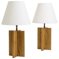 Pair of Oak 'Croisillon' Table Lamps after Jean-Michel Frank