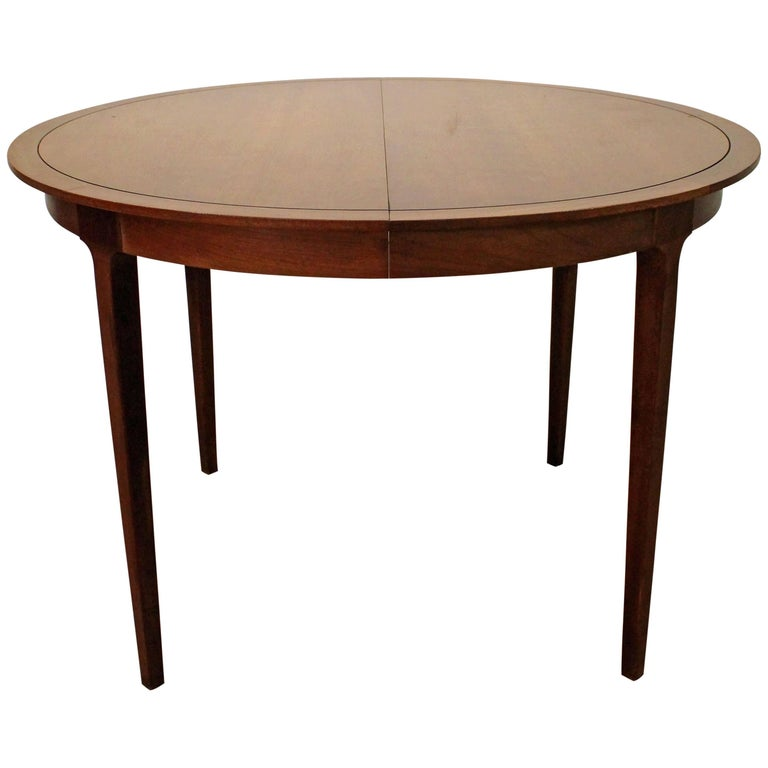 Drexel Counterpoint Round Extension Walnut Dining Table For