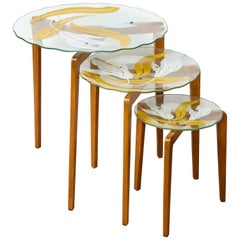 Nest of Italian Glass Top Tables