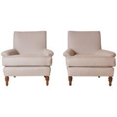 Pair of French Lounge Chairs Newly Upholstered in Natural Linen with Turned Legs