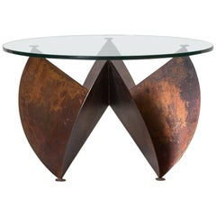 Sculptural Copper Side Table with Round Glass Top