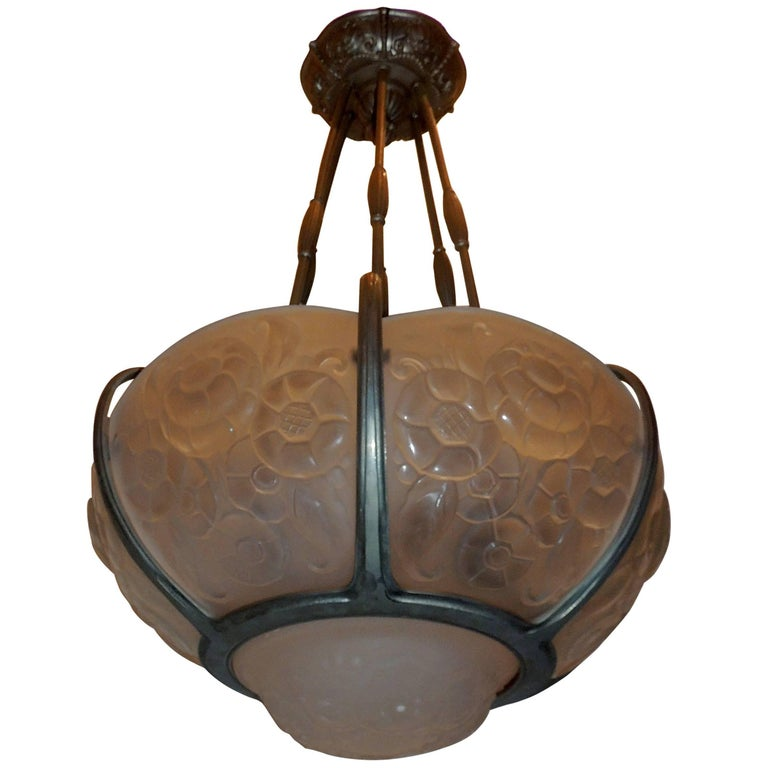 Wonderful Muller Freres French Art Deco Frosted Glass Nickel Bronze Chandelier