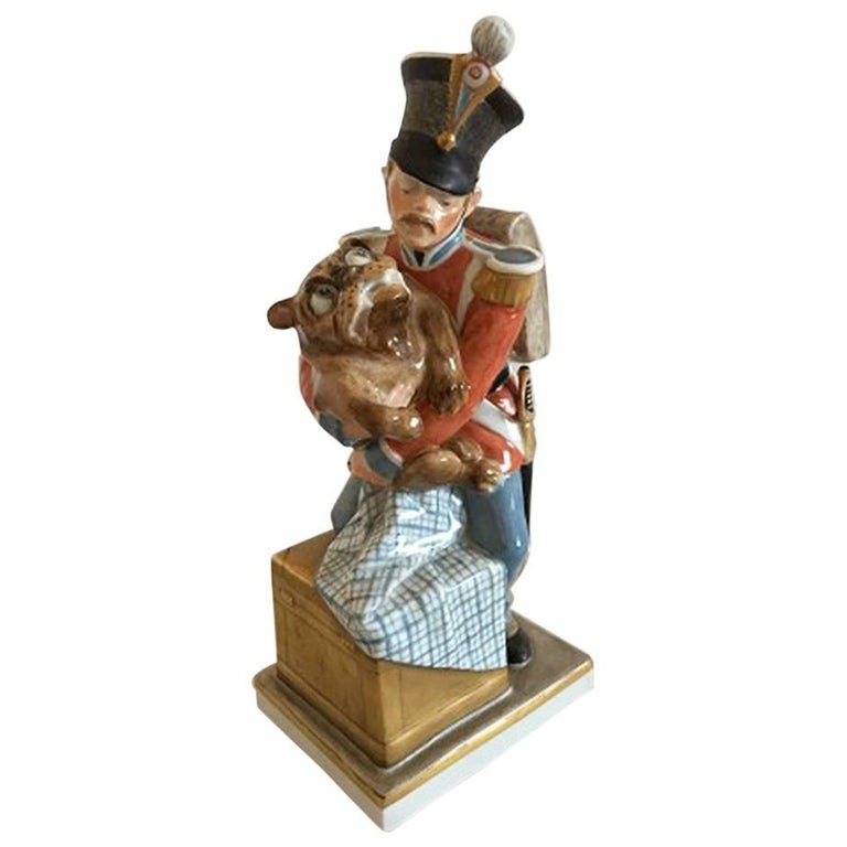 Royal Copenhagen over Glaze Figurine Soldier with Dog Tinderbox #1156 For Sale