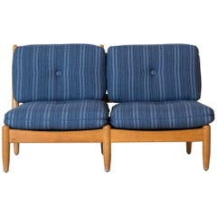 Midcentury Danish Armless Settee Upholstered in Blue Striped Fabric