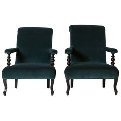 Pair of French Armchairs with Spindle Arms Upholstered in Teal Velvet