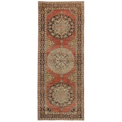 Vintage Turkish Oushak Gallery Rug with Traditional Style, Hallway Runner