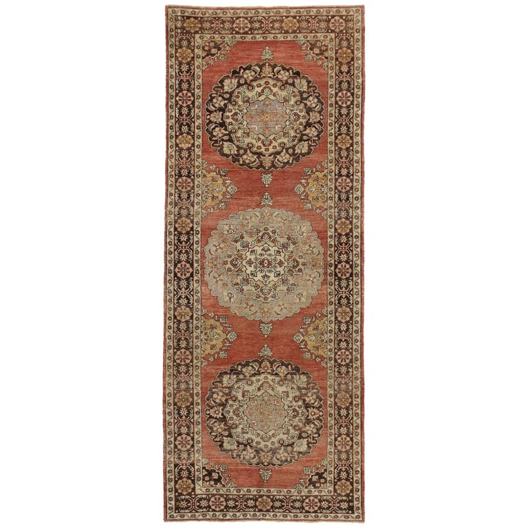 Vintage Turkish Oushak Runner with Traditional Style, Wide Hallway Runner