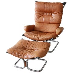Ingmar Relling for Westnofa Brown Leather and Chrome Lounge Chair and Ottoman