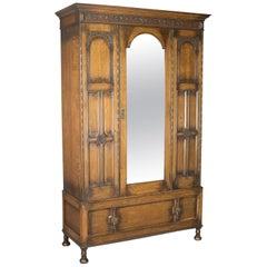 Antique Wardrobe, English Oak Mirror Door Compactum Gothic Overtones, circa 1910