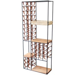 Arthur Umanoff Mid-Century Modern Leather and Iron 40-Bottle Wine Rack