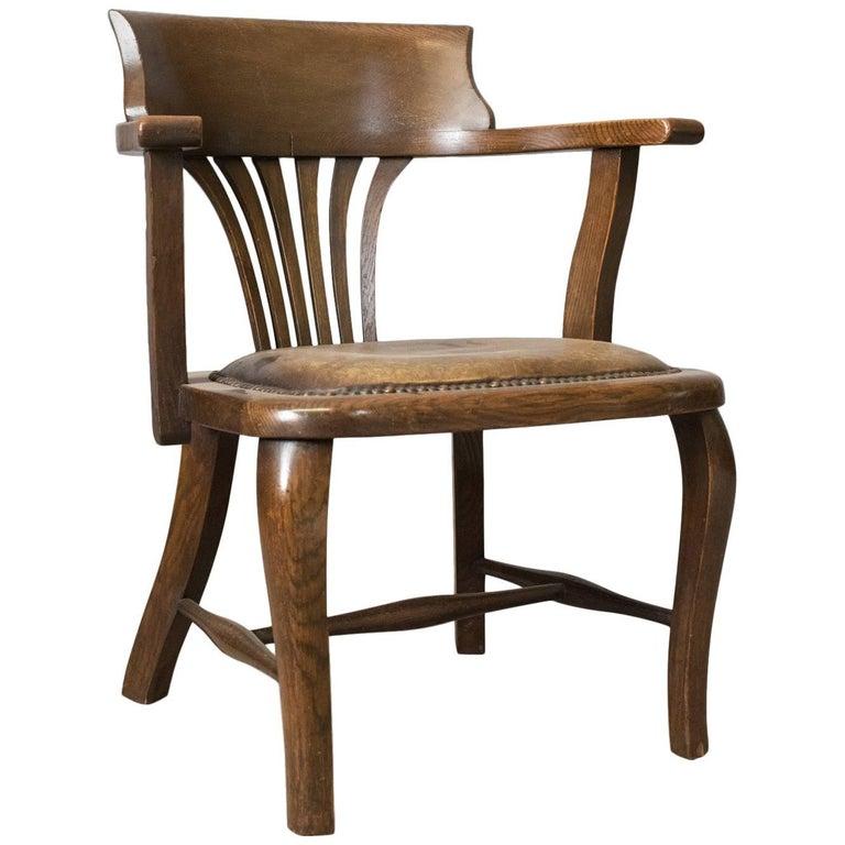 Antique Captain's Chair, English, Oak, Bow-Back, Leather, Smokers circa - Antique Captain's Chair, English, Oak, Bow-Back, Leather, Smokers