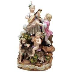 Meissen Bucolic Festival Figurines Cherubs Couple Musicians Acier, C 59, 1870