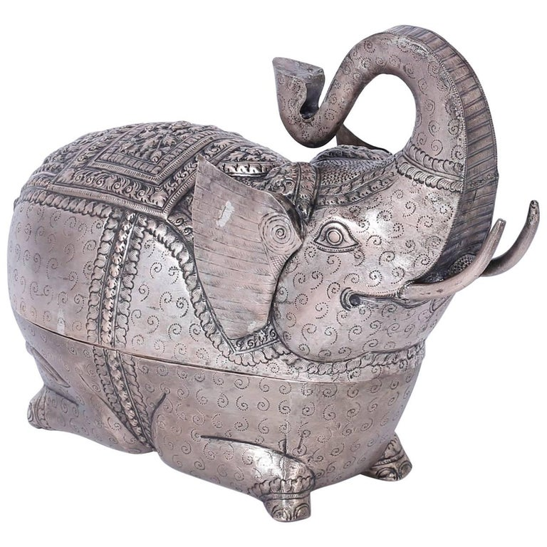 Anglo Indian Metal Elephant Box