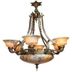 French 20th Century Art Deco Bronze and Alabaster Six-Light Chandelier