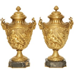 Pair of French Gilt Bronze Cassolettes in the Manner of Clodion