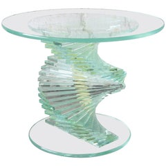 Helix Spiral Stacked Lucite and Glass Occasional Table, circa 1970s