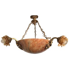 Early 20th Century French Alabaster and Gilt Bronze Pendant or Light Fixture