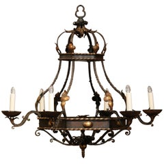 Early 20th Century French Hexagonal Painted Six-Light Iron Chandelier