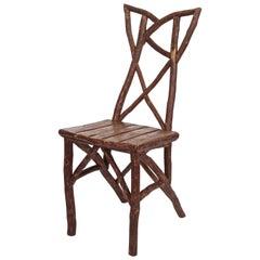 Rustic Folk Art Adirondack Chair, circa 1940