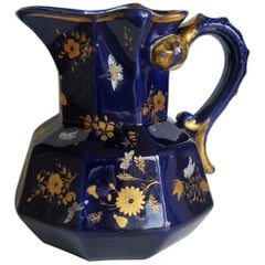 Large Early Masons Ironstone Jug or Pitcher Hand-Painted Butterflies, Circa 1825