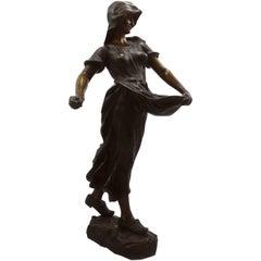 """Hans Schörk Bronze Skulptur """"Dutch Sawer"""" Austrian Sculptor 19th Century Sing"""