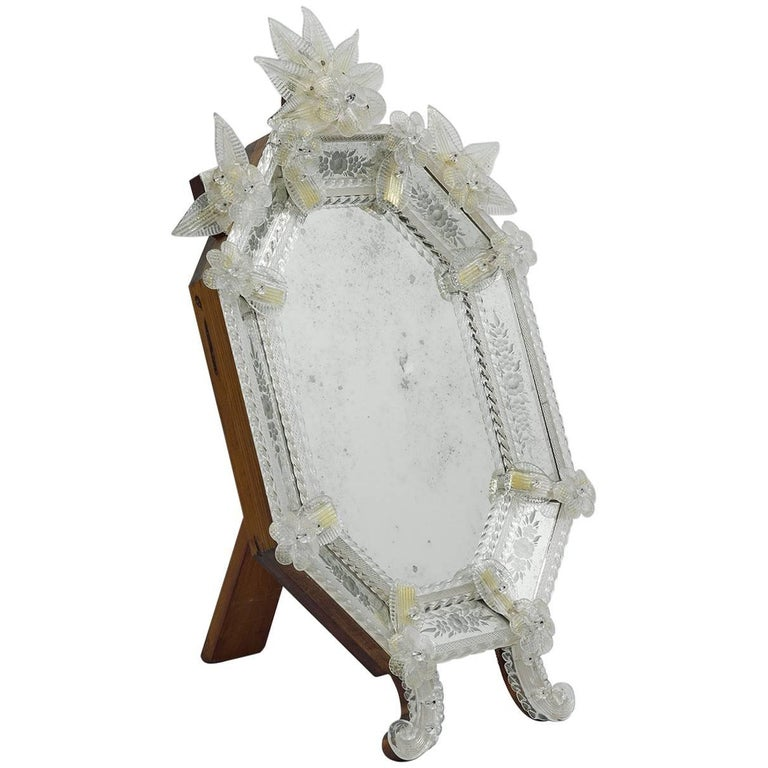 Murano Style Vanity Mirror with Clear Mirror and Wooden Back For Sale