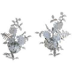 Crystal Floral Sconces circa 1930s, Pair